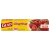 "Glad Cling Wrap, Plastic, 12"" x 300 ft, Clear, 12/Carton"