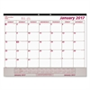 Brownline Monthly Desk Pad Calendar, 22 x 17, White/Maroon, 2017