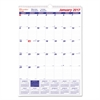 One Month Per Page Twin Wirebound Wall Calendar, 12 x 17, 2017