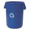 Rubbermaid Commercial Brute Recycling Container, Round, 44 gal, Blue