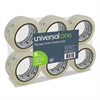 "Universal Heavy-Duty Acrylic Box Sealing Tape, 48mm x 50m, 3"" Core, Clear, 6/Pack"