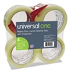 "Universal Heavy-Duty Box Sealing Tape w/Dispenser, 48mm x 54.8m, 3"" Core, Clear, 4/Pack"