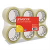 "Universal Quiet Tape Box Sealing Tape, 48mm x 100m, 3"" Core, Clear, 6/Pack"