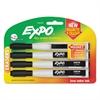Magnetic Dry Erase Marker, Fine Tip, Black, 4/Pack