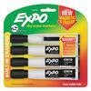 Magnetic Dry Erase Marker, Chisel Tip, Black, 4/Pack