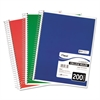 Spiral Bound Notebook, Perforated, College Rule, 11 x 8, White, 200 Sheets