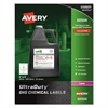 Avery Easy Peel UltraDuty GHS Chemical Labels, Laser, 4 x 4, White, 200/Box