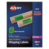 Neon Shipping Label, Laser, 2 x 4, Neon Assorted, 500/Box