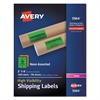 Avery Neon Shipping Label, Laser, 2 x 4, Neon Assorted, 1000/Box