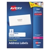 Avery Easy Peel Mailing Address Labels, Laser, 1 x 4, White, 2000/Box