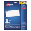 Avery Easy Peel Return Address Labels, Inkjet, 1/2 x 1 3/4, White, 2000/Pack