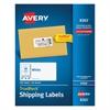 Avery Shipping Labels with TrueBlock Technology, Inkjet, 2 x 4, White, 500/Box