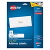 Avery Easy Peel Mailing Address Labels, Inkjet, 1 x 4, White, 500/Pack