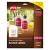 Avery Textured Arched Print-to-the-Edge Labels, 3 x 2 1/4, White, 90/Pack