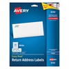 Avery Easy Peel Return Address Labels, Inkjet, 2/3 x 1 3/4, White, 1500/Pack