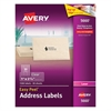Matte Clear Easy Peel Address Labels, Laser, 1 x 2 5/8, 1500/Box