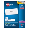Avery Easy Peel Mailing Address Labels, Laser, 1 x 4, White, 5000/Box