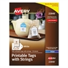 Avery Printable Scalloped Edge Tags with Strings, 2 x 1 1/4, White, 180 Tags