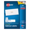 Avery Easy Peel Mailing Address Labels, Inkjet, 1 x 4, White, 2000/Box