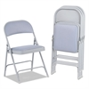 Alera Steel Folding Chair with Two-Brace Support, Fabric Back/Seat, Light Gray, 4/CT