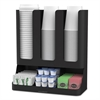 Flume Six-Section Upright Coffee Condiment/Cup Organizer, Black, 11.5 x 6.5 x 15