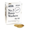 "ACCO Washers for Two-Piece Paper Fasteners, 1/2"" Cap, 1 1/4"" Diameter, Gold, 100/Box"