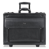 "Classic Leather Rolling Catalog Case, 16"", 18"" x 8 1/5"" x 14"", Black"