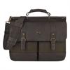 """SOLO Bradford Briefcase, 15.6"""", 16 1/4"""" x 5"""" x 12"""", Olive Denim/Espresso"""
