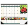 Recycled Floral Photographic Monthly Desk Pad Calendar, 18 1/2 x 13, 2017