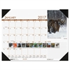 Recycled Beautiful Wildlife Photographic Monthly Desk Pad Calendar, 22x17, 2017