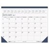 Recycled Two-Color Monthly Desk Pad Calendar, 18 1/2 x 13, 2017