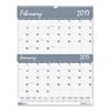 House of Doolittle Recycled Two-Months-per-Page Wirebound Wall Calendar, 20 x 26, 2017
