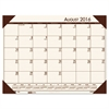 House of Doolittle Recycled EcoTones Academic Desk Pad Calendar, 18.5x13, Brown Corners, 2016-2017