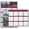 Recycled US Monuments Reversible/Erasable Yearly Wall Calendar, 24 x 37, 2017