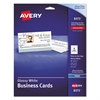 Avery Print-to-the-Edge Microperf Business Cards, Inkjet, 2x3 1/2, Wht, Gloss, 200/BX