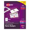 Self-Laminating Laser/Inkjet Printer Badges, 2 1/4 x 3 1/2, White, 30/Box