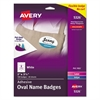 Avery Oval Self-Adhesive Laser/Inkjet Name Badge Label, 2 1/3 x 3 3/8, White, 160/PK