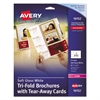 Avery Tri-Fold Brochure w/Tear-Away Cards, 8 1/2 x 11, Soft Gloss White, 50/Pack