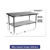 Alera Stainless Steel Table, 60 x 30 x 35, Silver