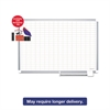 "Platinum Plus Dry Erase Planning Board w/Accessories, 1x2"" Grid, 72x48, Aluminum"