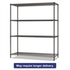 Alera All-Purpose Wire Shelving Starter Kit, 4-Shelf, 60 x 18 x 72, Black Anthracite+