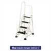 "Four-Step Stop-Step Folding Aluminum Ladder w/Left Handrail, 66 1/4"" High, Beige"