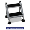 Cosco Rolling Commercial Step Stool, 2-Step, 19 7/10 Spread, Platinum/Black