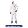 DuPont Tyvek Elastic-Cuff Hooded Coveralls w/Boots, White, Large, 25/Carton