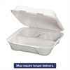 Genpak Harvest Fiber Hinged Containers, White, 9 x 9 x 3, 50/Bag, 4 Bag/Carton