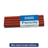 Dixon Oriole Woodcase Flat Carpenter's Pencil, Soft, Red, Dozen