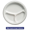 Aristocrat Plastic Plates, 10 1/4 Inches, White, Round, 3 Compartments, 125/Pack