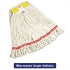 "Rubbermaid Commercial Web Foot Wet Mops, Cotton/Synthetic, White, Small, 1"" Yellow Headband,6/Carton"