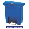 Rubbermaid Commercial Slim Jim Resin Step-On Container, Front Step Style, 4 gal, Blue