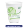 Vio Biodegradable Cups, Foam, 8 oz, White/Green, 1000/Carton